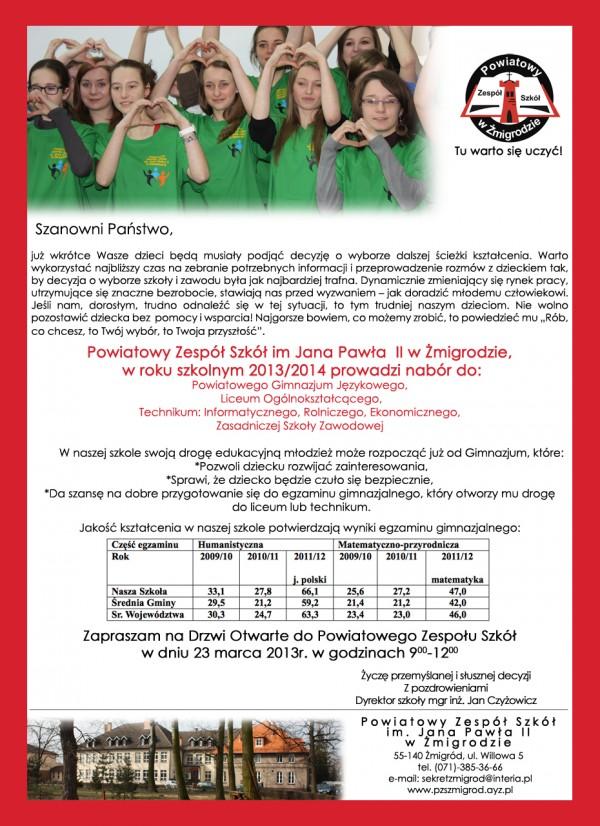Rekrutacja trwa - oferta Powiatowego Zespołu Szkół w Żmigrodzie