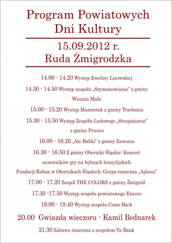 Program Powiatowych Dni Kultury Regionalnej